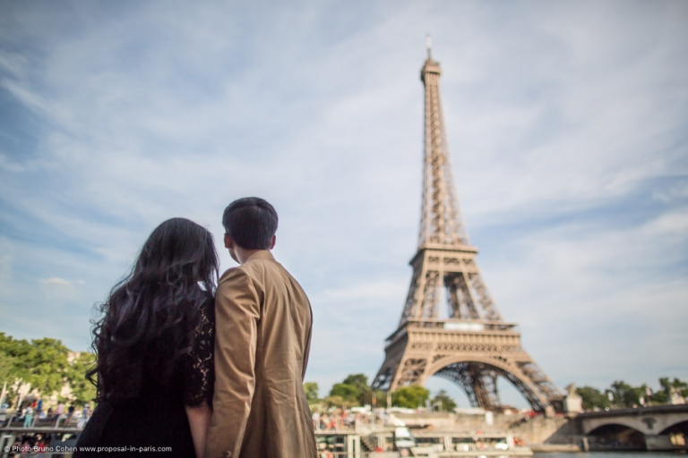 Emotional surprise proposal in an amazing spot in Paris by hidden photographers and videographers