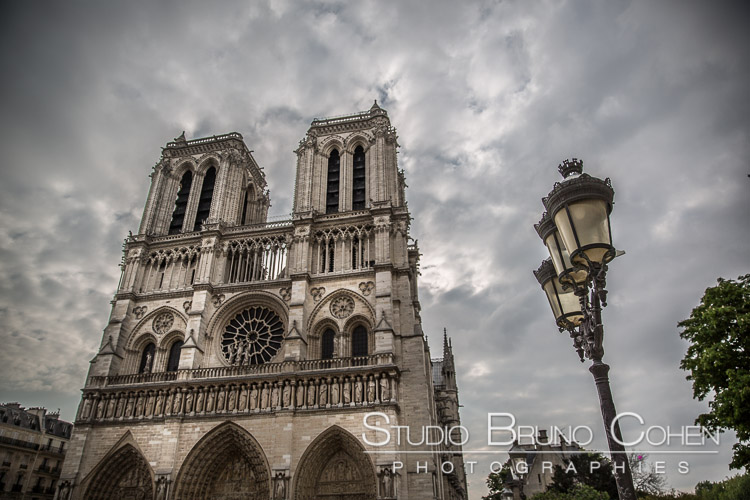 notre dame cathedral proposal in paris engagement session photographer blue sky
