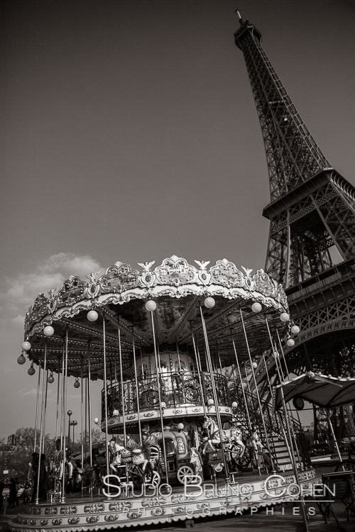 carousel front of Eiffel Tower in paris proposal