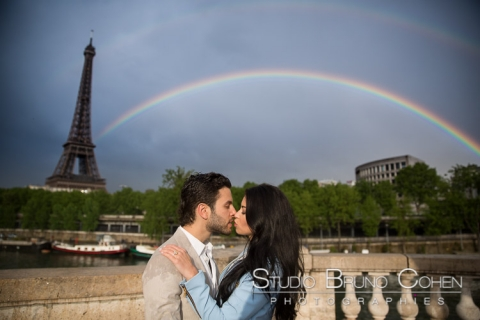 Amazing rainbow over the Eiffel Tower after a surprise proposal in paris