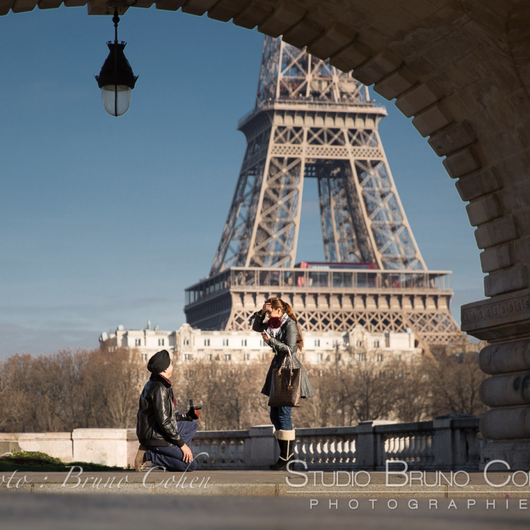 Surprise Proposal on Bir-Hakeim bridge paris at winter emotions cry front of Eiffel Tower