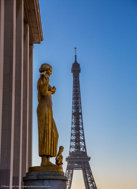 Trocadero place front on Eiffel Tower at sunrise proposal in paris