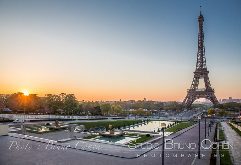spring sunrise on Trocadero Paris Eiffel Tower