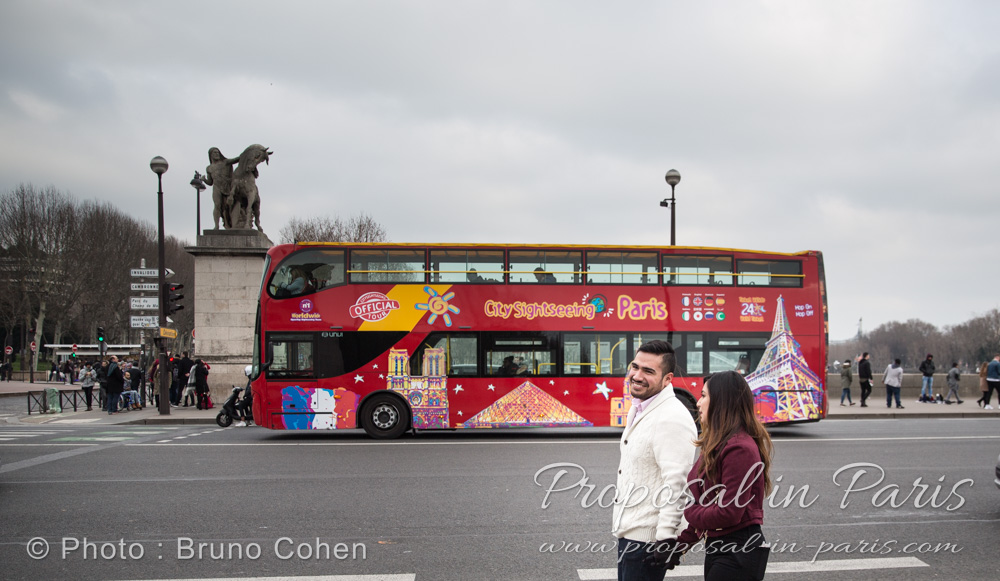 surprise proposal in paris during winter couple in love