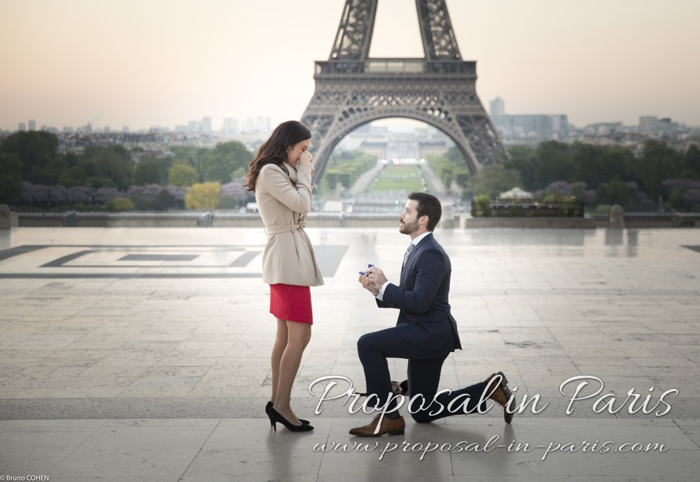 surprise elegant proposal in paris Trocadero front of Eiffel Tower