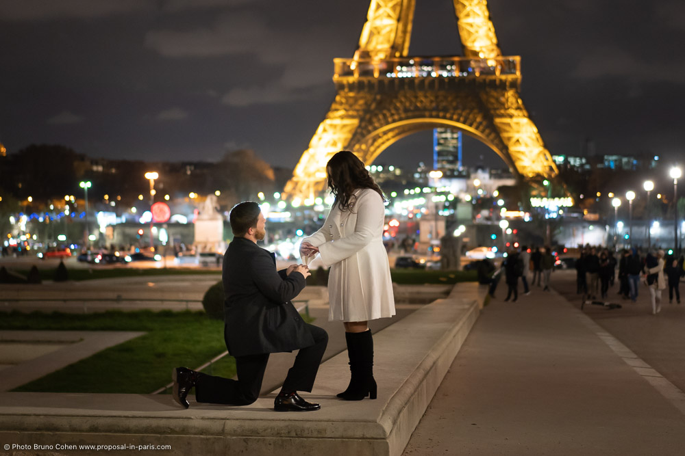 proposal in paris by night front Eiffel Tower